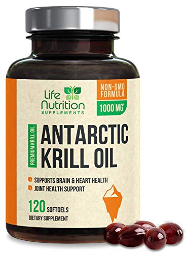 Antarctic Krill Oil Supplement 1000mg Extra Strength Krill with Omega 3, EPA, DHA, and Astaxanthin - Made in USA - Heart and Joint Support, Non-GMO, No Fishy Aftertaste for Men Women - 120 Softgels