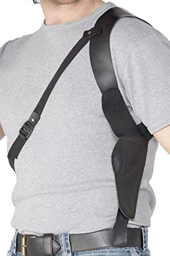 A Cop wouldn't be complete without a Shoulder Gun Holster. The perfect costume accessory. Great for guys and girls. Black leather. Authentic design.