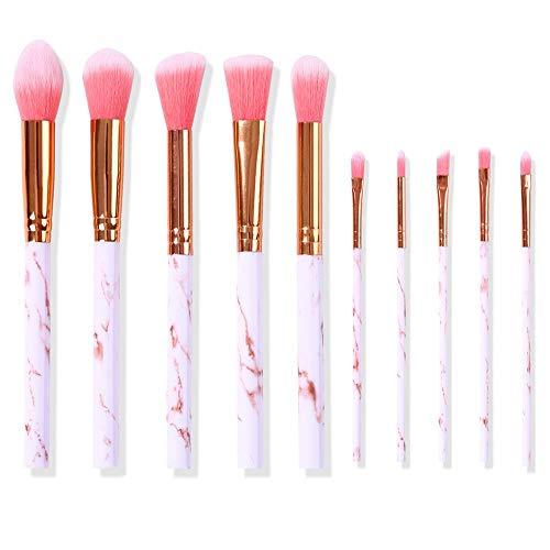 WHBQ Pinceaux Maquillage Ensemble Complet Fond Teint Réparateur pour Fard à Paupières Foundation Beauty Tools Portable Débutant Professionnel 10 Sticks