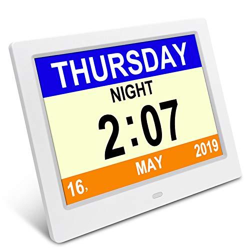 SSA Demenz-Tagesuhr, Gedächtnisverlust Digitalkalender-Tagesuhr, mit extra großem Nicht abgekürztem Tag u. Monat. Perfekt für Senioren (White)