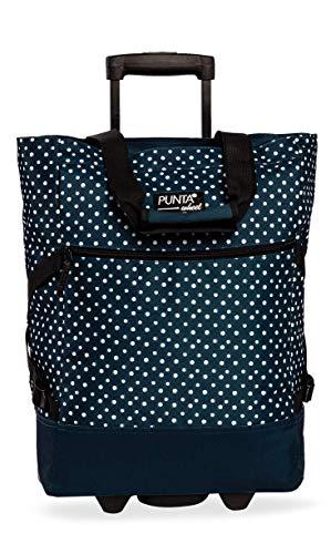 Punta Shopping Roller, dunkelblau-weiß, 36x50x20cm