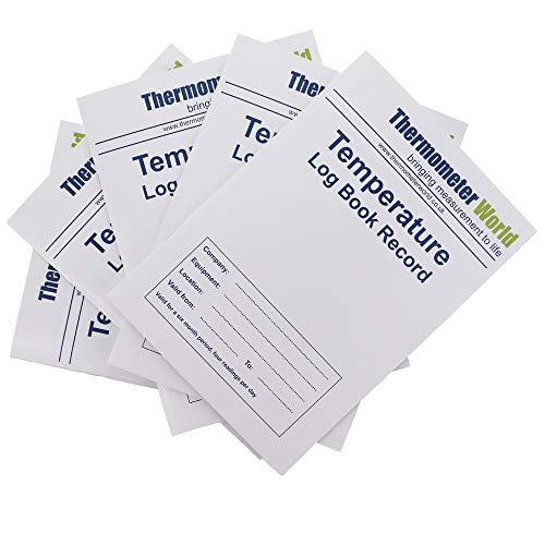 5 x Temperatur-Protokollbücher für 6 Monate – Überwachung von Kühlschrank, Gefrierschrank, Logbuch, Temperatur, Lebensmittelsicherheit und Hygiene