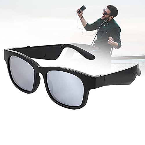 FRIBLSKEL Gafas Sol Polarizadas con Llamada Bluetooth Gafas Audio para Hombres Mujer Lente UV400 Gafas Sol con Auriculares Abiertos para Conducir, Viajar, Al Aire Libre,Plata
