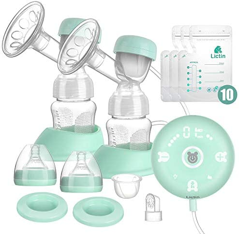 Lictin Electric Breast Pump-Smart Silicone Breast Pump Breast Milk Pump Breast Milk Catcher 2 Modes 9 Levels Adjustment with LED Display and 2 Nursing Pads