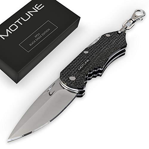 MOTUNE® Zweihand Klappmesser Mini KP24 - Taschenmesser aus rostfreiem Edelstahlklinge - Zweihandmesser mit Press Lock & Schlüsselring