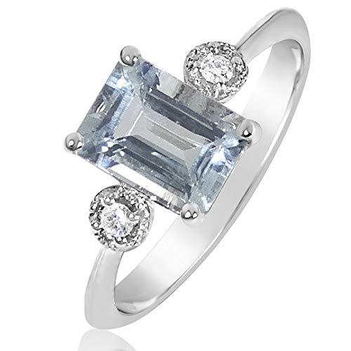 MILLE AMORI ∞ Anillo Mujer Compromiso Oro y Diamantes - Oro Blanco 9 Kt 375 ∞ Diamantes 0.03 Kt - Aguamarina 1 Kt