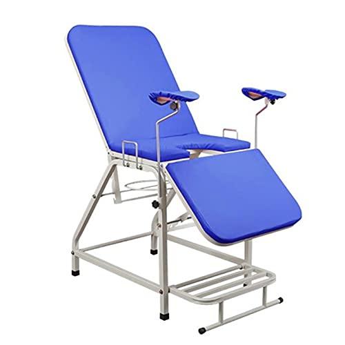 Cama de examen ginecológico médico, Mesa de examen ajustable portátil plegable, equipo de enfermería para mujeres, para hospital, salón de belleza para pacientes ambulatorios, 185 * 60 * 80 cm,Azul