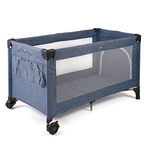 CHIC 4 BABY 340 55 Reisebett LUXUS mit Einhängeboden für Neugeborene und Tragetasche, Jeans blau, blau, 12 kg