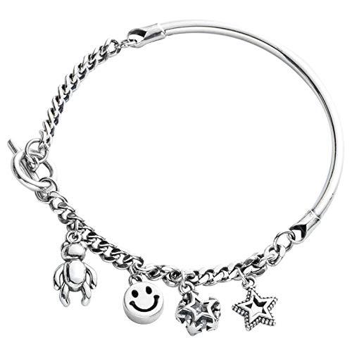 yqs Pulsera hecha a mano vintage plata pequeña cara sonriente estrella colgante codo para las mujeres
