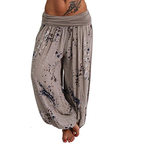 Moda Italy Aladin Sommerhose Pluderhose Haremshose Pumphose Strandhose Klekse XS-L (XS-L, Schlamm)