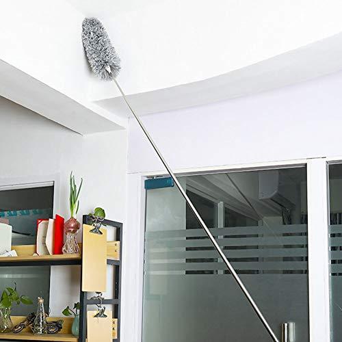 XKMY Cepillo para el polvo Mango Largo Telescópico Lavable Plumero Extensible Estático Acero Inoxidable Cepillo Doblable Alargar la Herramienta de Limpieza de Techo