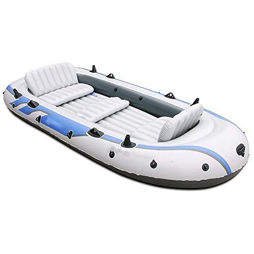 YYhkeby Aufblasbare Boot Kayak Rückenlehne Schlauchboot für 4 Personen / 5 Personen Hovercraft Fischerboot Kayak WIRDED geeignet für Jialele (Color : White)