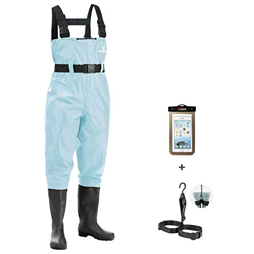 FISHINGSIR Fishing Chest Waders for Men with Boots Mens Womens Hunting Bootfoot Waterproof Nylon and PVC Waders with Wading Belt