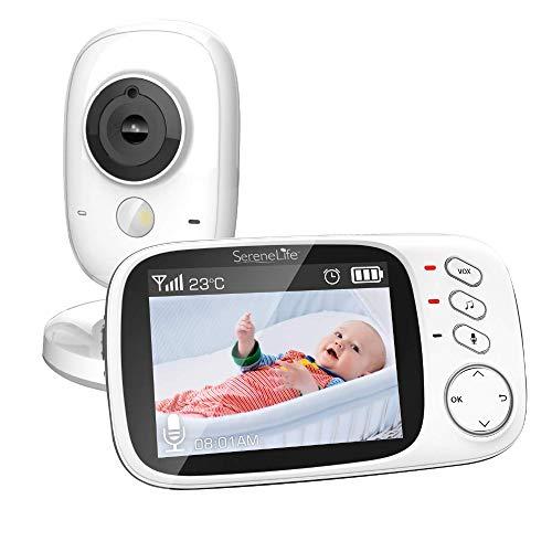 """SereneLifeワイヤレスビデオ ベビー モニター - 温度温度計睡眠カメラ、3.2""""デジタル カラー画面ワイヤレスの充電式バッテリー、オーディオ スピーカー、ポータブル モバイル クリップ w/デュアル システム - SLBCAM20"""