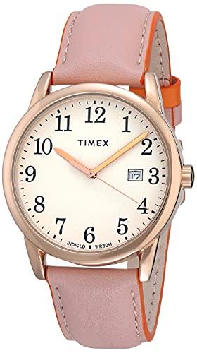 Timex Women's TW2U29800 Easy Reader 38mm Blush/Orange Leather Strap Watch