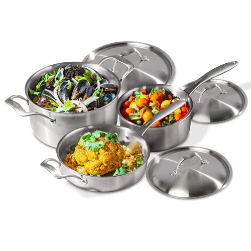 Abbio   Stainless Set - 6 Piece Cookware Set - Saute Pan, Stock Pot, Sauce Pan - Ergonomic Cool Handles - PFOA Free - Oven & Dishwasher Safe