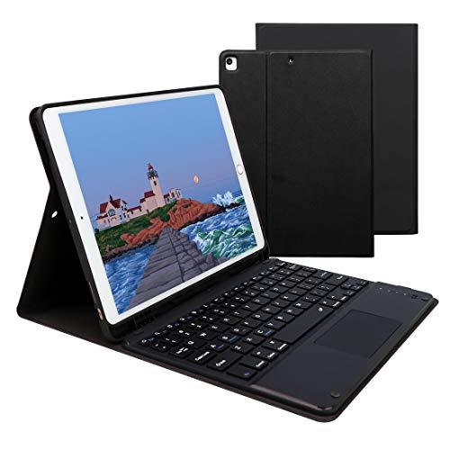 Lively Life Tastiera Bluetooth con touchpad per iPad 10.2 8th 2020/7th Generation 2019, iPad Air 3 2019, iPad Pro 10.5 2017, custodia protettiva, tastiera wireless rimovibile - Nero
