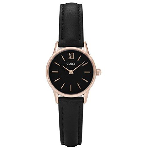 CLUSE La Vedette Rose Gold Black Black CL50011 Women's Watch 24mm Leather Strap Minimalistic Design Casual Dress Japanese Quartz Elegant Timepiece