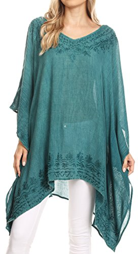 Sakkas 1801 - Regina Frauen leichte Stonewashed Poncho Top Bluse Kaftan vertuschen - Teal - OS