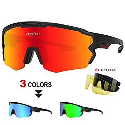 MooFee Polarized Sports Sunglasses with 3 Interchangeable Lenses,Mens Womens Cycling Glasses,Bike Glasses Bicycle Sunglasses for Driving Cycling Running Fishing (Black Red)