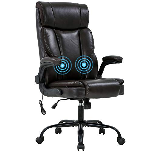 Office Chair Ergonomic Desk Chair Massage Computer Chair with Lumbar Support Adjustable Armrest Task Chair Rolling Swivel PU Leather Executive Chair for Men (Brown)