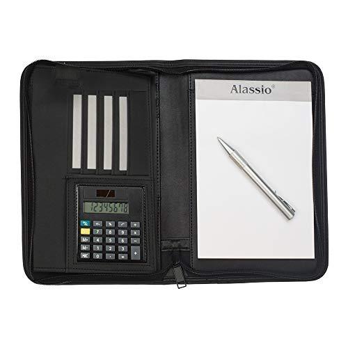 Alassio 30144 - Cartella portadocumenti CORNIGLIA in formato DIN A5, in similpelle, con calcolatrice, colore: nero, 24 x 18 x 3,5 cm