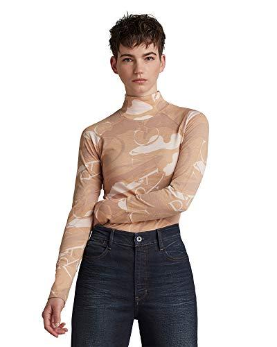 G-STAR RAW Camiseta Lecite Slim de cuello de tortuga para mujer Multicolor Dk Blossom Deco Camo C565-c791 XS