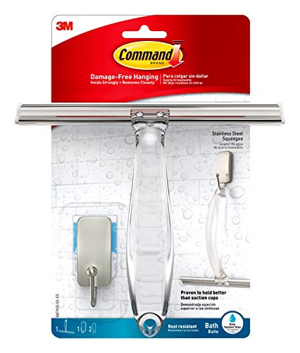 Command Bath Shower Squeegee and Hook With Water-Resistant Adhesive, 1-Squeegee, 1-Hook, 2-Strips