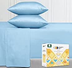 Sky Blue Sheets Split-King Size - 400 Thread Count 100% Natural Cotton, Sateen Weave Breathable 5 Piece Set, Elasticized Deep Pocket Fits Low Profile Foam and Tall Mattresses