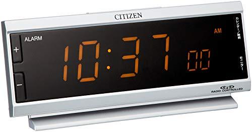 シチズン 目覚まし時計 電波 デジタル パルデジットピュア AC電源 24時間 常時点灯 LED 銀色 CITIZEN 8RZ099-019