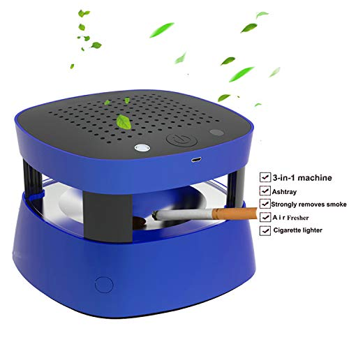 S DESITA 3 in 1 Multifunction Ashtray Smokeless Portable Ashtrays Filter USB Rechargeable for Car/Indoor/Outdoor Protect Family Health