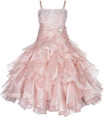 ekidsbridal Rhinestone Organza Layer Flower Girl Dresses Pageant Dresses 164S 8 Blush Pink product image