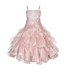 Blush Pink Rhinestone Organza Layer Flower Girl Dresses