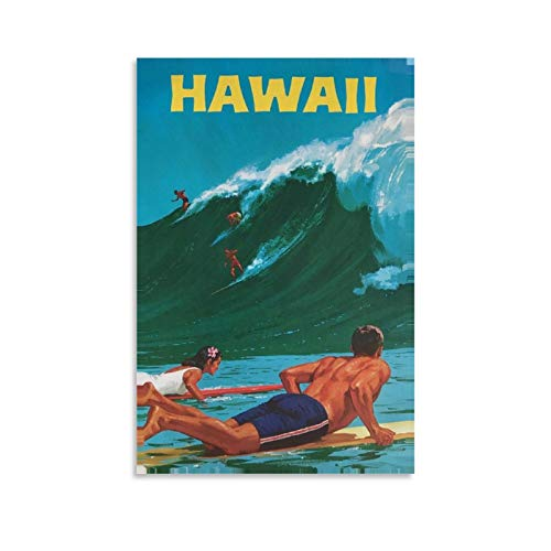 Vintage-Hawaii-Reise-Poster, Leinwand-Kunst-Poster und Wandkunstdruck, modernes Familienschlafzimmer, 30 x 45 cm