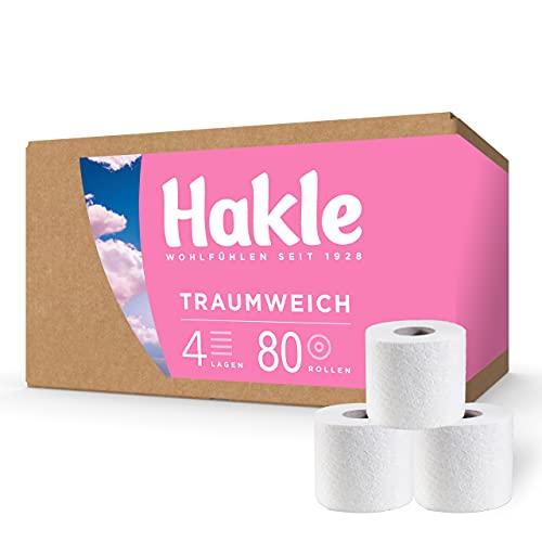 Hakle Traumweich BIG PACK (80 x 130 Blatt), komfortabel weiches WC Papier, 4-lagiges Toilettenpapier für die sanfte tägliche Reinigung, Klopapier ohne Plastikverpackung