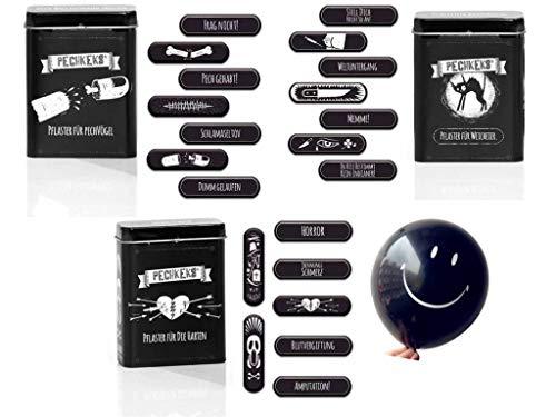 Pechkeks Pflaster SET 48-teilig - 1x Pflaster Box FÜR DIE HARTEN + 1x Pflaster Box FÜR WEICHEIER + 1x Pflaster Box FÜR PECHVÖGEL + GRATIS Ballon
