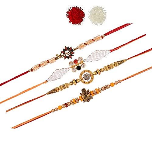 Efulgenz Floral Ganesha Rakhi Indian Raksha Bandan Pulsera de hilo de perlas de imitación para hermano (juego de 4)