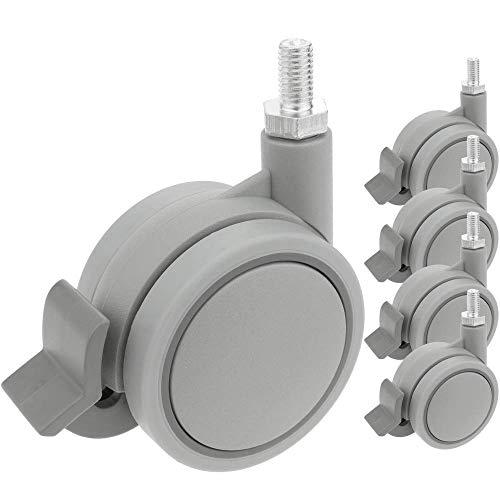 PrimeMatik - Rueda pivotante de Nailon y Polipropileno con Freno 60 mm M8 5 Pack