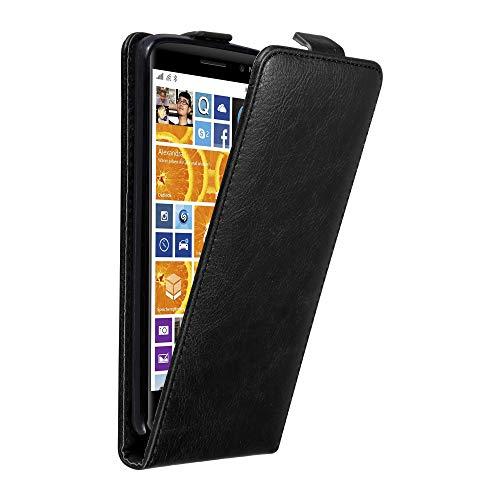 Cadorabo Custodia per Nokia Lumia 830 in Nero di Notte - Protezione in Stile Flip con Chiusura Magnetica - Case Cover Wallet Book Etui
