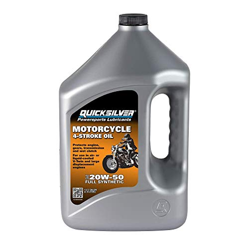 Quicksilver 8M0060086 20W-50 Full Synthetic 4-Stroke Motorcycle Oil – 1 Gallon