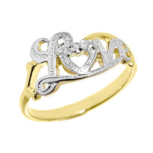 Modern Contemporary Rings Dainty 10k Yellow Gold High Polish Diamond Love Script Statement Ring...