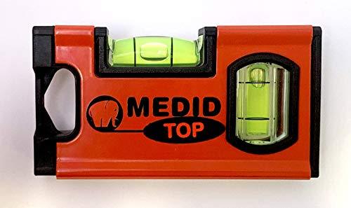 Mini niveau à bulle professionnel - 10 cm - Magnétique - 2 fioles - Avec embouts anti-chocs
