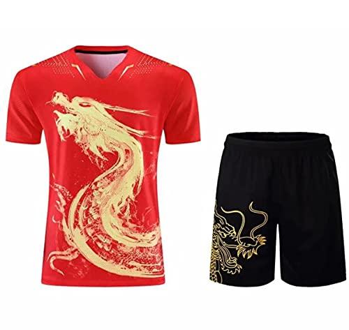 Bias&Belief Kits de Pantalones Cortos de Camisetas de Tenis de Mesa de dragón Chino, Trajes de Ping Pong de China para Hombre y Mujer, Conjuntos de Tenis de Mesa, Trajes de Camisa Deportiv