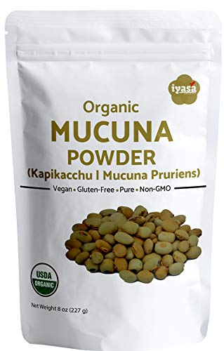 USDA Organic Mucuna Beans Powder (Kapikachhu) 8Oz/225Gm Mucuna Pruriens Ayurveda Superfood Resealable Pouch