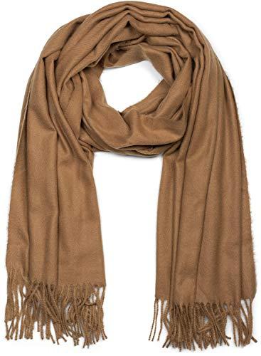 styleBREAKER Unisex weicher uni Schal mit Fransen, Winter, Stola, Tuch 01017104, Farbe:Camel