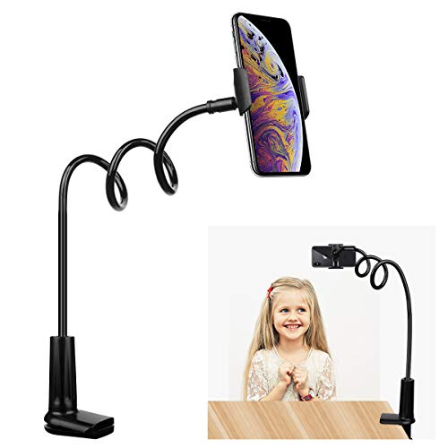 FUTESJ Flexible Gooseneck Cell Phone Stand Holder, Adjustable Long Lazy Arm Clip Clamp Phone Mount Compatible for iPhone 6 6s 7 8 X Plus 5 5s 5c Charging, Accessories Desk and Bed-Black