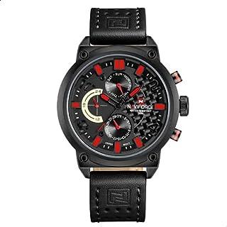 Naviforce 9068L B-R-B Leather Round Analog Watch for Men - Black