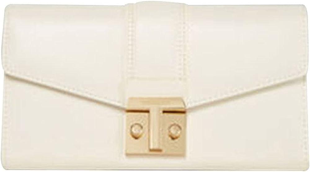 Trussardi portafoglio continental da donna porta carte di credito in similpelle panna