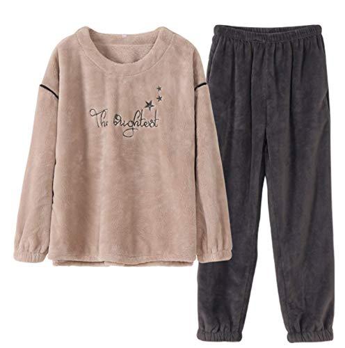 LEYUANA Conjuntos de Pijama, Ropa de Dormir de Franela Pijamas Mujer Gruesa Comodidad cálida Mangas largas Homewear LD