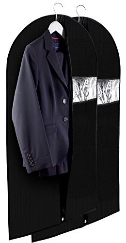 Clear Vinyl Garment Bag - Protect Your Clothing While Traveling and Dust Free While Hanging in Your Closet. These Garment Bags are Ideal for Coats, Suits, Dresses or Gowns - Set of 2 (24 X 42 Inches)
